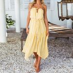 Chiffon Striped Sleeveless Backless Halter Boho Bohemian Dress