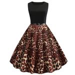 Vintage Fashion Vintage Sleeveless Casual Leopard Dress