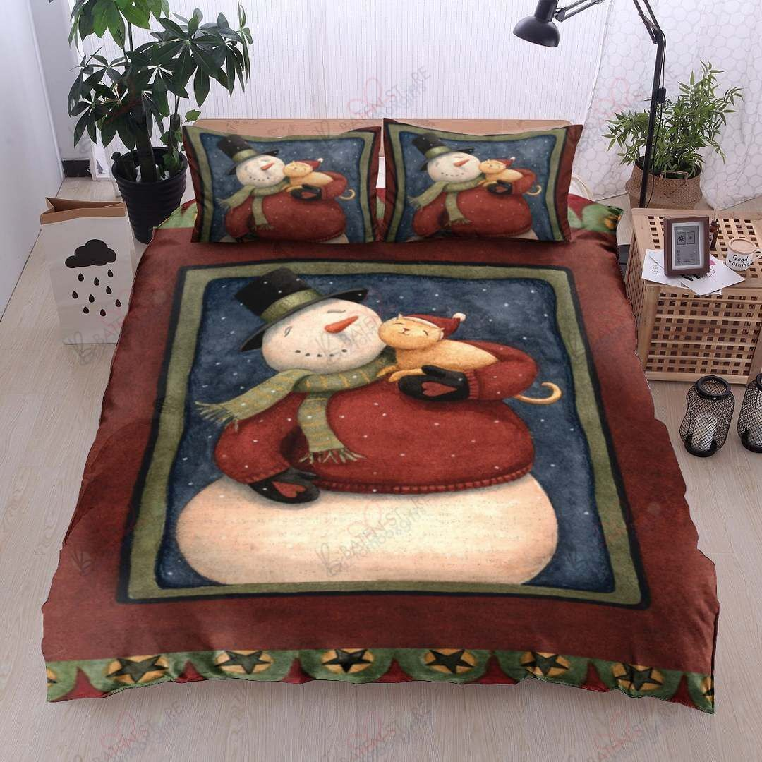 Snowman And Cat Printed Bedding Set Bedroom Decor