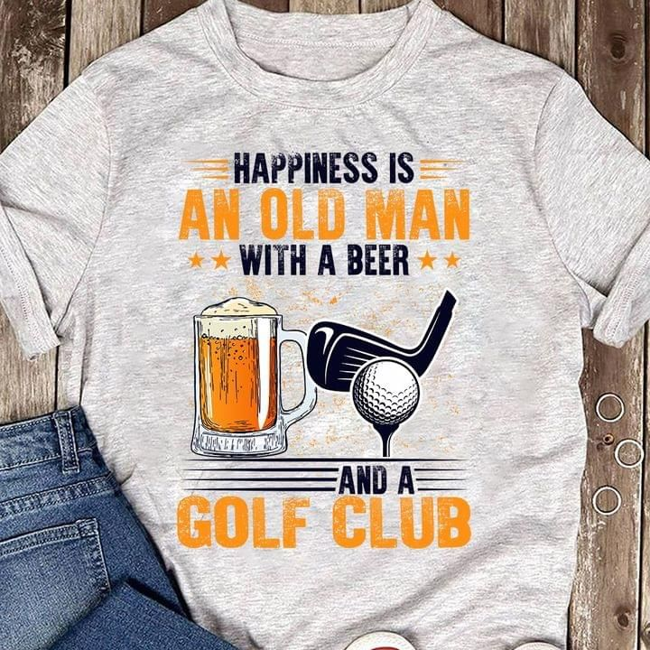 Happiness is an old man with a beer and a golf club shirt