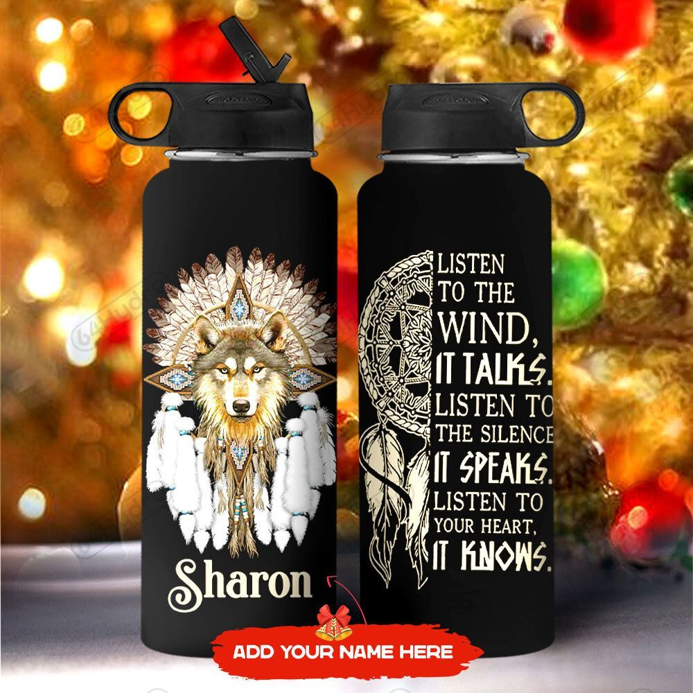 Native Wolf Personalized KD2 MAL1711005 Stainless Steel Bottle With Straw Lid
