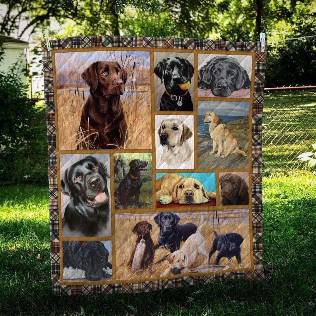 Labrador Retriever Cute Dogs Quilt Blanket Great Customized Blanket Gifts For Birthday Christmas Thanksgiving Anniversary